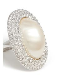 Kenneth Jay Lane | Metallic Oval Pearl Center Rhinestone Pavé Ring | Lyst