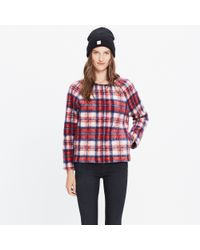 Madewell | Red Brushed Plaid Pullover Top | Lyst
