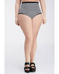 7ac978f468 Lyst - Forever 21 Plus Size Striped High-waisted Bikini Bottoms in White