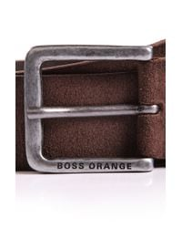 BOSS Orange | Brown Belt 'jardin' In Suede for Men | Lyst