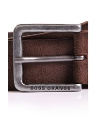 BOSS Orange - Brown Belt 'jardin' In Suede for Men - Lyst