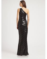 David Meister - Black Striped Sequined Gown - Lyst
