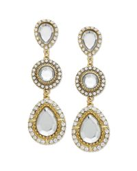 INC International Concepts - Metallic Goldtone Crystal Teardrop Linear Earrings - Lyst