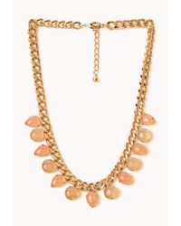 Forever 21 - Pink Natural Stone Statement Necklace - Lyst