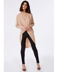 Missguided - Natural Longline Wrap Front Jersey Top Nude - Lyst