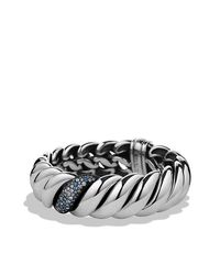 David Yurman | White Hampton Cable Narrow Bracelet With Diamonds | Lyst