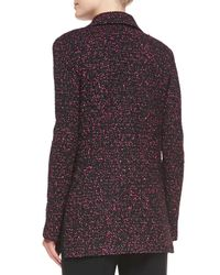 St. John - Black Paint-fleck Tweed Knit Jacket - Lyst