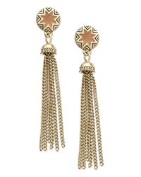 House of Harlow 1960 - Metallic Gold-tone Khaki Sunburst Tassel Earrings - Lyst