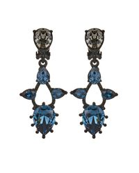 Oscar de la Renta | Blue Black Crystal-embellished Earrings | Lyst