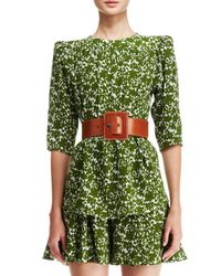 Michael Kors - Green Floral-Print Silk Top - Lyst