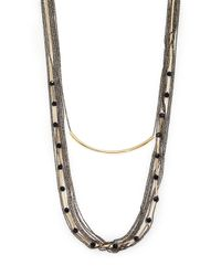 ABS By Allen Schwartz | Metallic Bitter Not Sweet Draped Multi-row Chain Necklace | Lyst