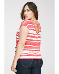 Forever 21 - Pink Plus Size Striped Web-back Top - Lyst