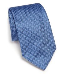 Ike Behar | Blue Neat Textured Silk Tie for Men | Lyst