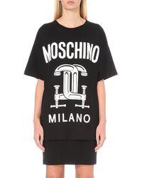 Moschino - Black Logo-print Cotton T-shirt - Lyst