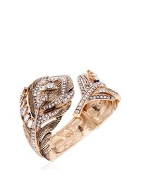 Roberto Cavalli | Metallic Swarovski Crystal Feather Bracelet | Lyst