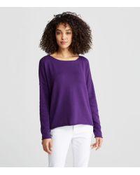 Eileen Fisher Purple Peruvian Plaited Organic Cotton Fair Trade Bateau Neck Box-top