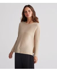 Eileen Fisher - Multicolor Seamless Italian Undyed Cashmere Round Neck Top - Lyst