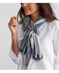 Eileen Fisher - Blue Organic Cotton Wool Diamond Stripe Scarf - Lyst