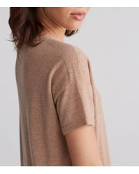 Eileen Fisher - Brown Seamless Italian Cashmere Bateau Neck Short-sleeve Tunic With Side Slits - Lyst