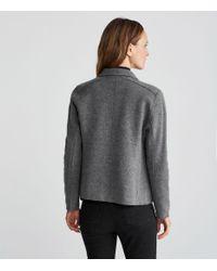 Eileen Fisher - Gray Boiled Wool Moto Jacket - Lyst