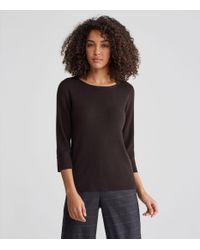 Eileen Fisher - Black Washable Wool Crepe Bateau Neck Top - Lyst