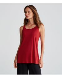 Eileen Fisher - Red Silk Jersey Long A-line Tank - Lyst
