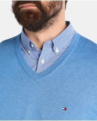 Tommy Hilfiger | Big And Tall Blue V-neck Sweater for Men | Lyst