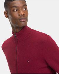 Tommy Hilfiger - Red Burgundy Zip-up Cardigan for Men - Lyst