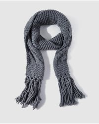 El Corte Inglés Gray Grey Knitted Scarf With Fringe