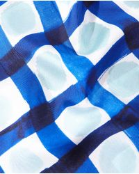 Gloria Ortiz - Blue Check Print Silk Handkerchief - Lyst
