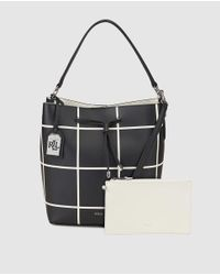 Lauren by Ralph Lauren - Two-tone Black And White Leather Bucket Bag With Long Strap - Lyst