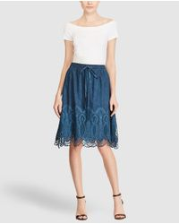 Lauren by Ralph Lauren - Blue Short Skirt With Crochet - Lyst