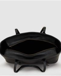 Polo Ralph Lauren - Black Leather Tote Bag With Strips Detail - Lyst