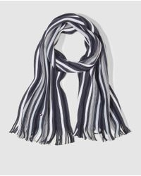Tommy Hilfiger - Gray Multicoloured Striped Knit Scarf for Men - Lyst