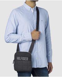 Tommy Hilfiger - Mens Black Quilted Canvas Messenger Bag for Men - Lyst