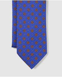 Mirto - Royal Blue Embellished Print Silk Tie for Men - Lyst