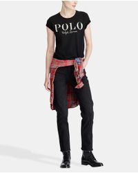 Polo Ralph Lauren - Black Short Sleeve T-shirt With Front Embroidery - Lyst