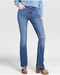 GREEN COAST | Blue Ripped Bell-bottom Jeans | Lyst