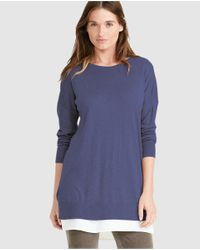 Lauren by Ralph Lauren | Navy Blue Sweater With Side Vents | Lyst