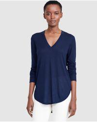 Lauren by Ralph Lauren | Navy Blue V-neck Sweater | Lyst