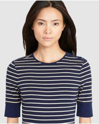 Lauren by Ralph Lauren | Blue Short Sleeve Stripe Print Sweater | Lyst
