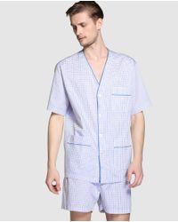 Mirto - Short Blue Fabric Pyjamas for Men - Lyst