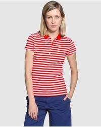 Tommy Hilfiger - Red Short Sleeve Striped Polo Shirt - Lyst