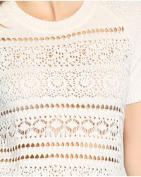 Tommy Hilfiger - White Short-sleeve Sweater With An Openwork Design - Lyst