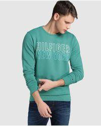 Hilfiger Denim - Green Sweatshirt With A Round Collar for Men - Lyst