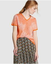 Escolá | Orange Sweater With Leaf Design | Lyst
