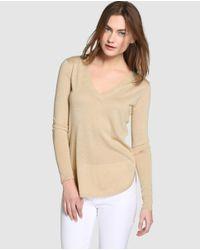 Lauren by Ralph Lauren | Natural Beige V-neck Sweater | Lyst