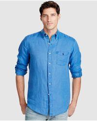 Polo Ralph Lauren - Regular-fit Plain Blue Linen Shirt for Men - Lyst