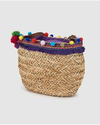 Green Coast - Small Natural Market Tote With Border And Pompoms - Lyst