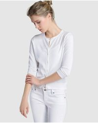 Lauren by Ralph Lauren - White Cardigan With French Sleeves - Lyst